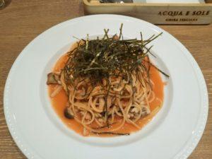 もりもりきのことたらこの和風スパゲッティ